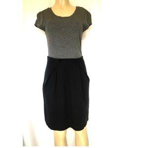 Theory Ciarah Craze Dress Black Gray 12 Sheath Cap